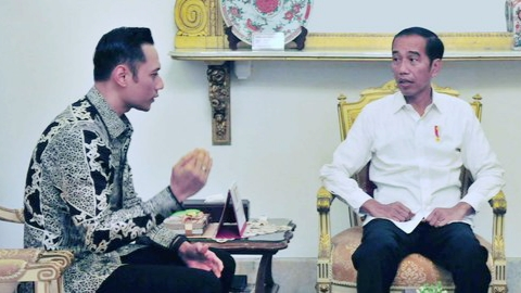 AHY temui Jokowi di istana. ©2019 Liputan6.com/Angga Yuniar